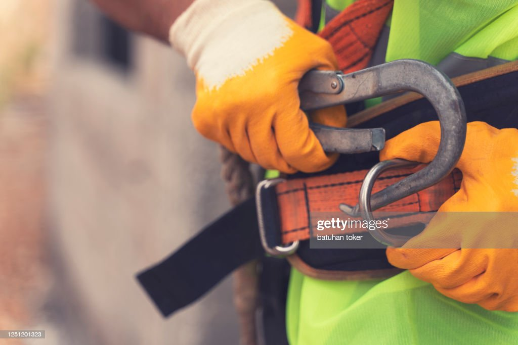 Fall Protection Systems; full harness type safety belt : Stock Photo