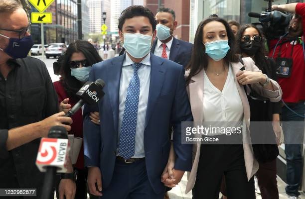 Fall River mayor Jasiel F. Correia II leaves Moakley Federal Court in Boston after receiving a guilty verdict on May 14, 2021.