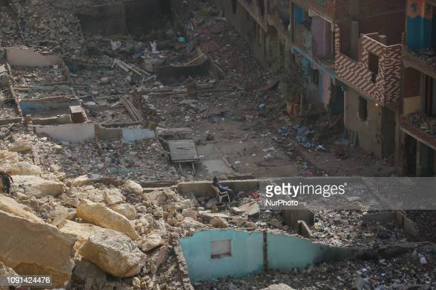 Fall rockslide from the Mokattam hill on AlDuweiqa neighbourhood Cairo Egypt on 30 January 2019 82 families affected by the collapse of the AlDuweiqa...