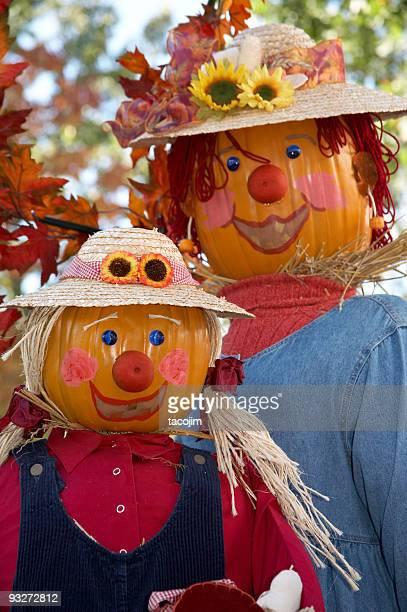 fall scarecrows - scarecrow faces stock photos and pictures