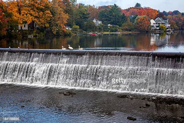Fall scene in Connecticut small town