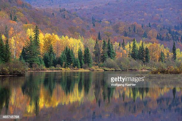 Fall scene with colorful trees reflecting in Lake LacMonroe MontTremblant National Park in the Laurentians in Quebec Province Canada