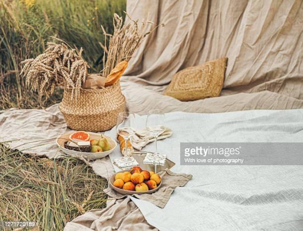 fall season picnic outdoors, harvest season, autumn vibes background - september stock-fotos und bilder