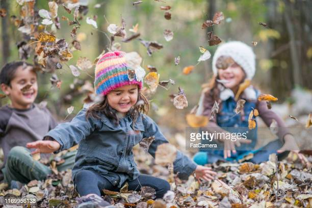 fall siblings - girl mound stock pictures, royalty-free photos & images
