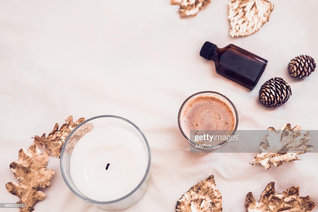 Fall spa beauty products flatlay on white : Stock Photo