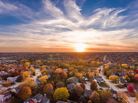 Fall sunset over the neighborhood 1059740578