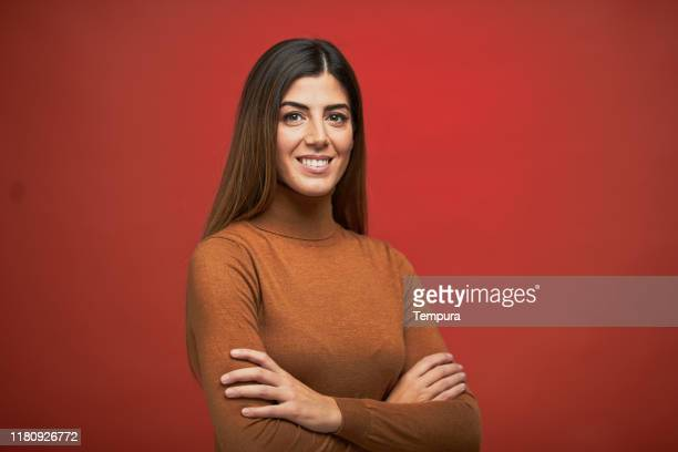 fall time headshot, a woman wearing a turtleneck. - 30 39 years stock pictures, royalty-free photos & images