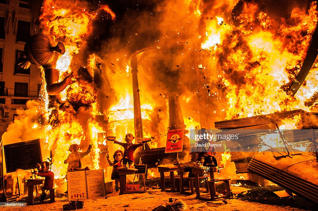A Falla burns during the last day of the Las Fallas Festival on March 20, 2013 in Valencia, Spain. The Fallas festival, which runs from March 15 until March 19, celebrates the arrival of spring with fireworks, fiestas and bonfires made by large puppets named Ninots.