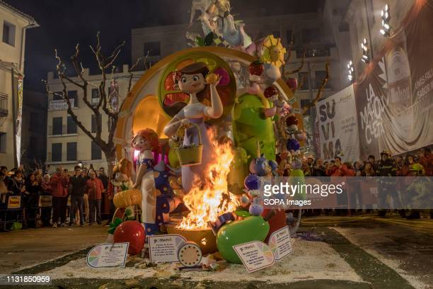 Falla Infantil seen burning in the Palza del Pilar during the event On the final night of The Fallas Festival The Fallas are burnt as huge bonfires...