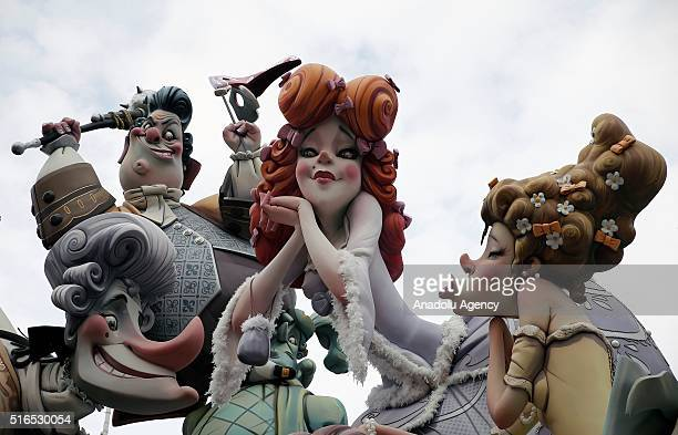Fallas also known as Ninots are seen during the Las Fallas Festival a traditional celebration held in commemoration of Saint Joseph in Valencia Spain...