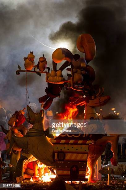 Fallas festival celebrated by the people in Valencia Many wooden monuments and figures were made for the festival and they were burned after being...