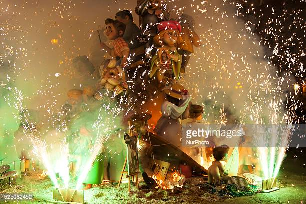 Fallas festival is celebrated by the people in Valencia Spain on March 19 2015 Many wooden monuments and figures were made for the festival and they...