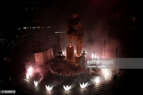 Fallas sculptures are on display as fireworks explode around them during the final day of the one week long traditional Las Fallas Festival which...