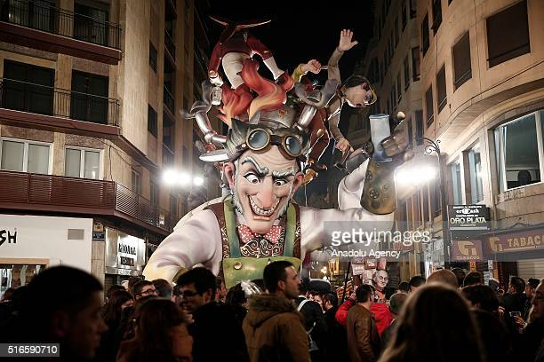 Fallas sculptures are seen on display during the final day of the one week long traditional Las Fallas Festival which dates back to 18th century in...