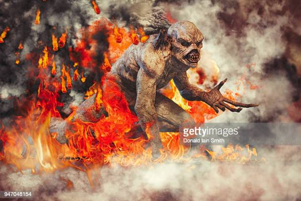 Fallen angel: evil demon snarling with smoke, fire and brimstone all around