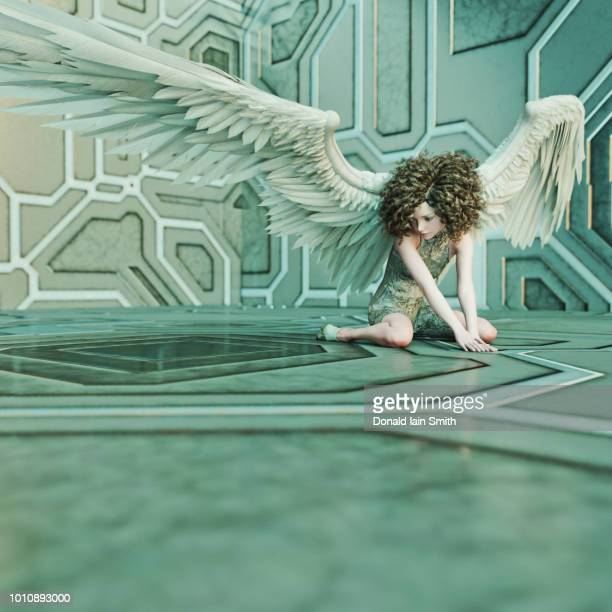 Fallen angel with techno background