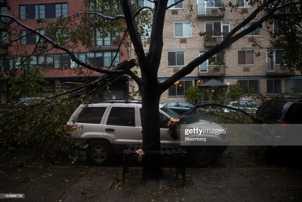Fallen branches lay on top of a car in the Gowanus neighborhood of Brooklyn in New York, U.S., on Monday, Oct. 29, 2012. Hurricane Sandy, the Atlantic's Ocean's biggest-ever tropical storm, barreled toward southern New Jersey after bringing a region with 60 million residents to a virtual standstill and upending the U.S. presidential race eight days before Election Day. Photograph: Victor J. Blue/Bloomberg via Getty Images