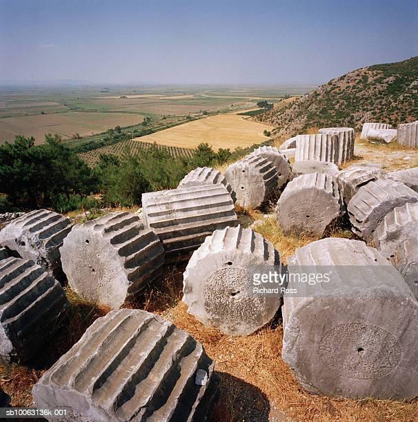Fallen columns at Pergamon, urkey