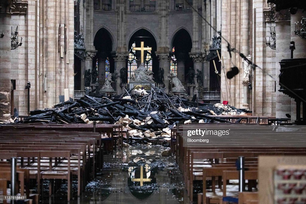 Notre Dame Cathedrals Stability Assessed After Fire Rips Through Monument : News Photo