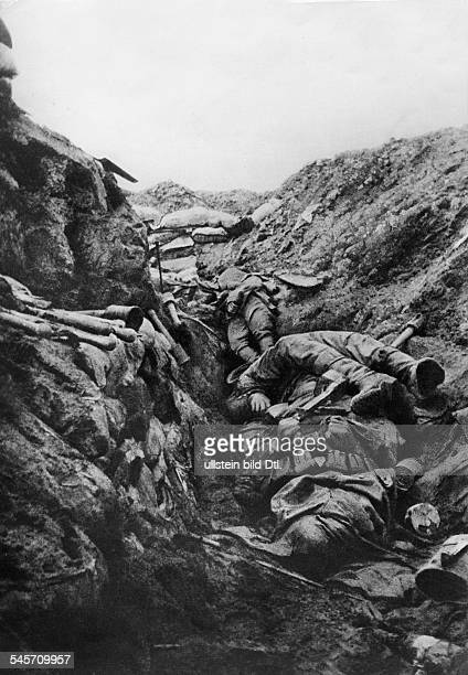 Fallen German soldiers in a German trench at Verdun that was captured by the French identical with image no 00010658