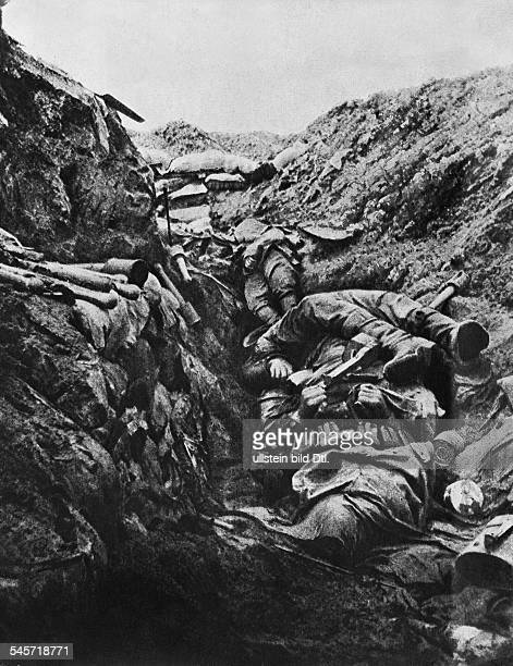 Fallen German soldiers in a German trench at Verdun that was captured by the French identical with image no 00006702