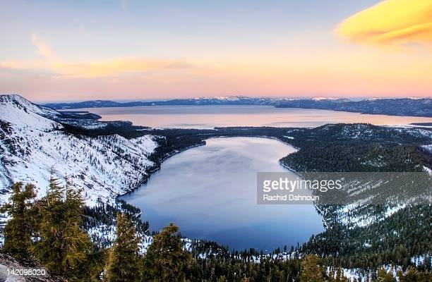 fallen leaf lake and lake tahoe at sunset in the winter, california. - lake tahoe stock photos and pictures