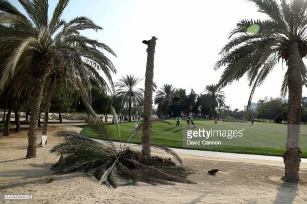 A fallen palm tree blown down by gust of wind beside the 17th green during the third round of the 2017 Dubai Ladies Classic on the Majlis Course at...