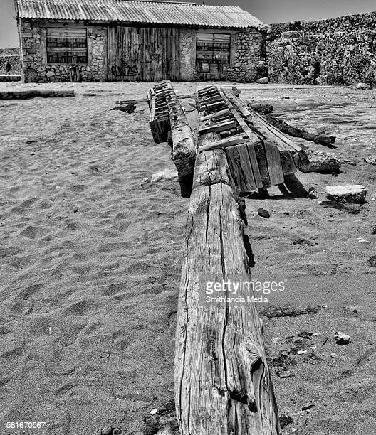 Fallen pole in Chiana, Crete