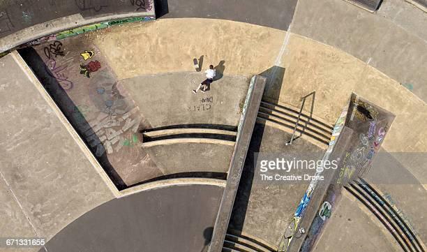Fallen Skateboarder at Skatepark