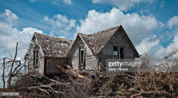 fallen trees by abandoned wooden house, oklahoma, usa - fallen tree stock pictures, royalty-free photos & images