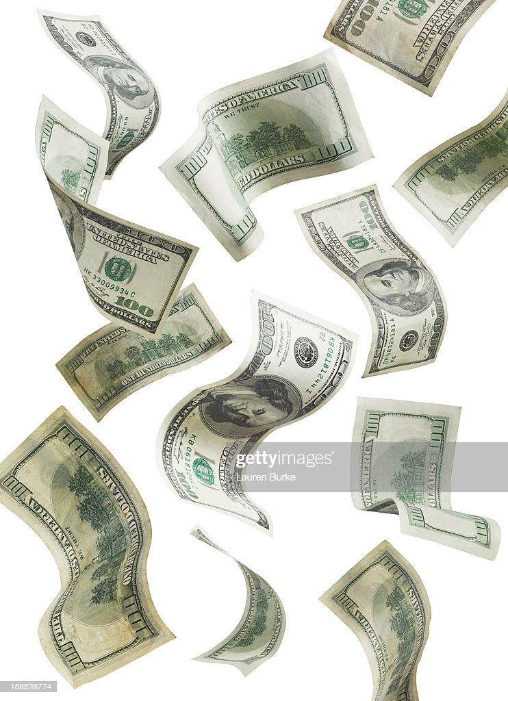 Falling 100 US dollar bills : Bildbanksbilder