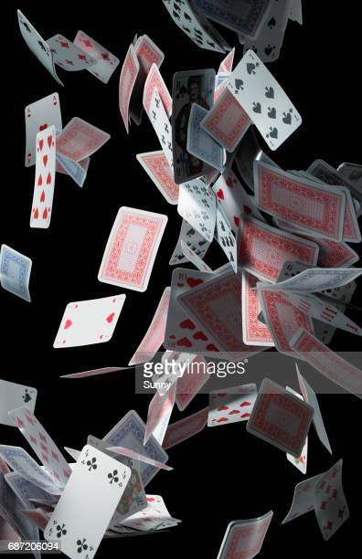 falling cards - poker stock photos and pictures