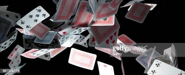 falling cards - bridge card game stock-fotos und bilder