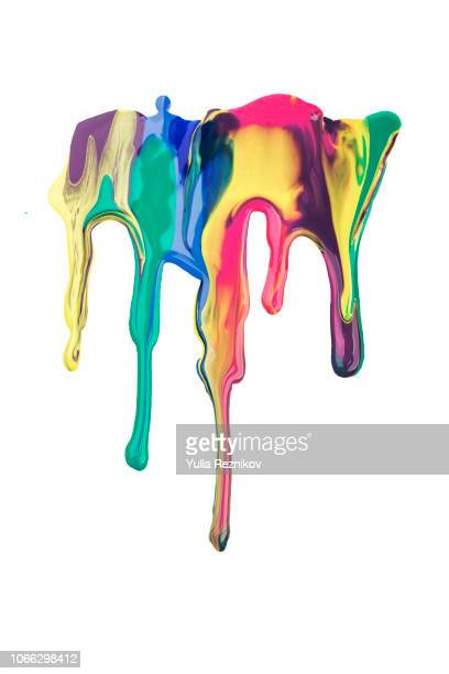 falling colorful drops of paint - nail varnish stock pictures, royalty-free photos & images