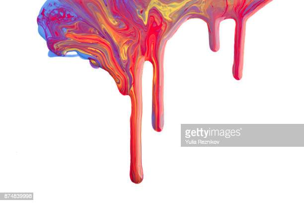 falling colorful drops of paint - creativity stock-fotos und bilder
