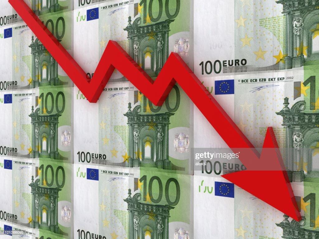 Sinkende Euro-Tabelle : Stock-Foto