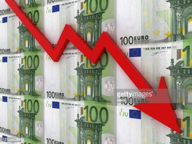 falling euro chart - decline stock pictures, royalty-free photos & images