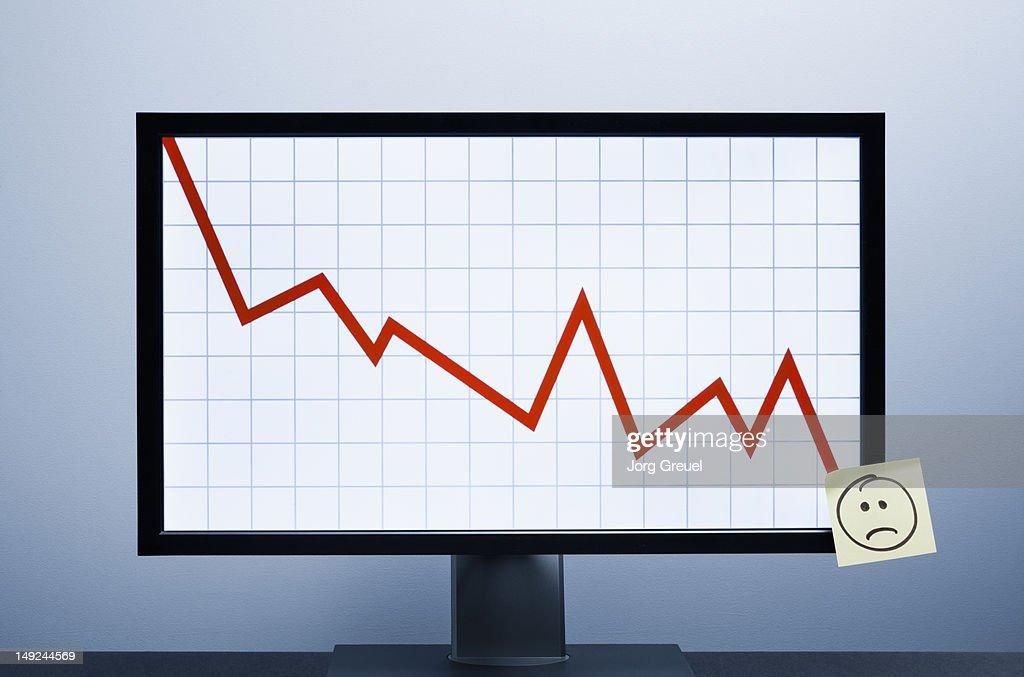 Falling financial graph : Stock Photo