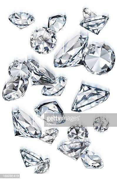Falling Gems or Diamonds of Various Sizes in Motion Isolated