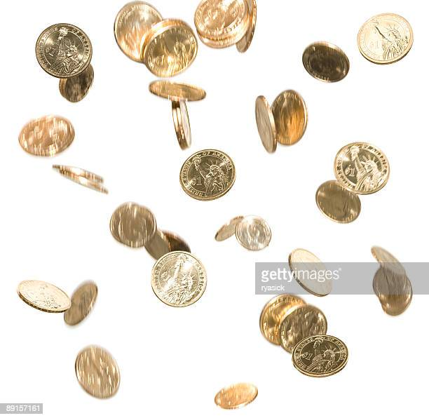 Falling Gold Dollar Coins Money in Motion Isolated on White