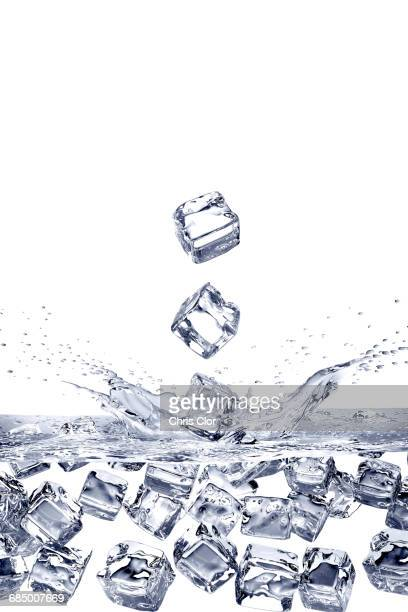 Falling ice cubes splashing into water and floating