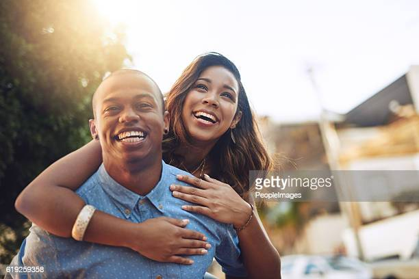 falling in love is so much fun - heterosexual couple photos stock photos and pictures