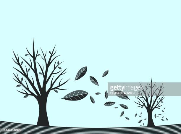 Falling leaves graphic illustration
