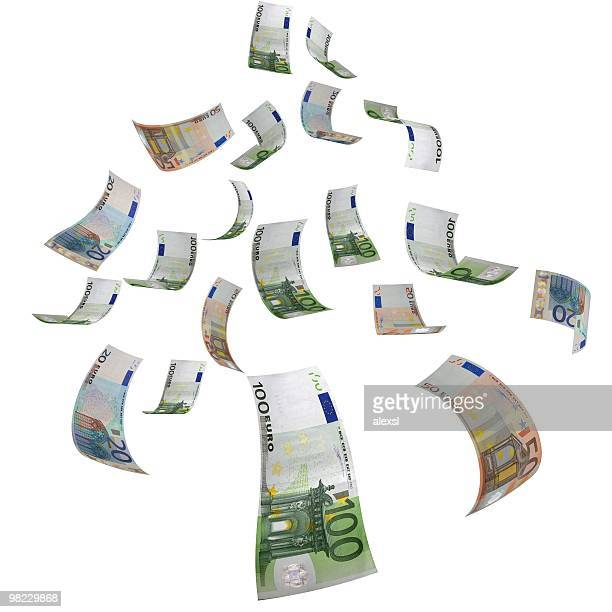falling money - euro - euro symbol stock photos and pictures