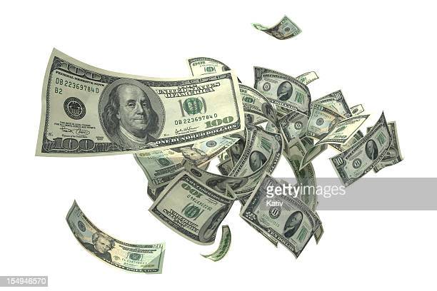 falling money (xxxl) - american one hundred dollar bill stock pictures, royalty-free photos & images