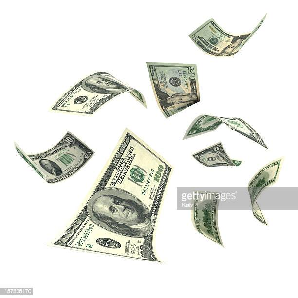 falling money (xxl) - american one hundred dollar bill stock pictures, royalty-free photos & images