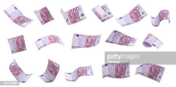 falling money - euro symbol stock photos and pictures