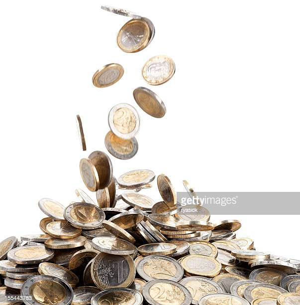 Falling Motion of Euro Coins Onto a Mound of Money