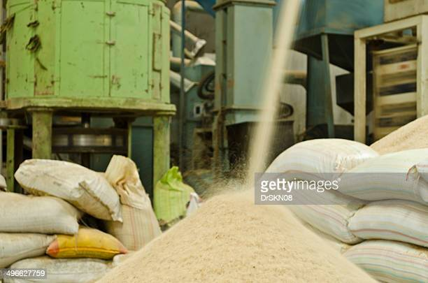 Falling rice inside a rice mill