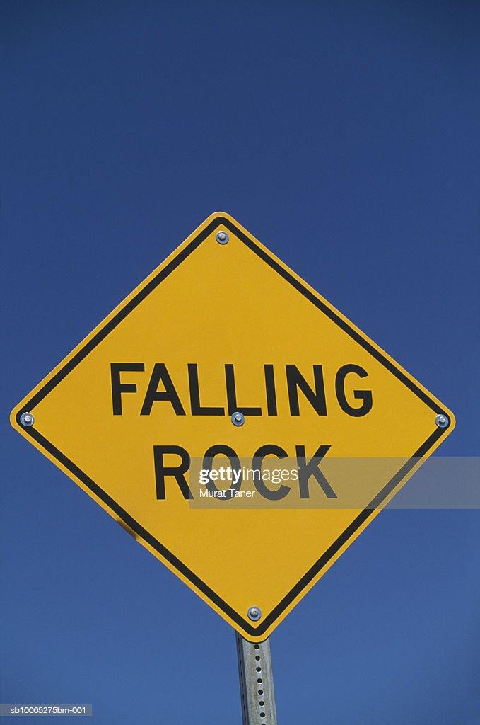 Falling Rock sign, close-up : Foto stock